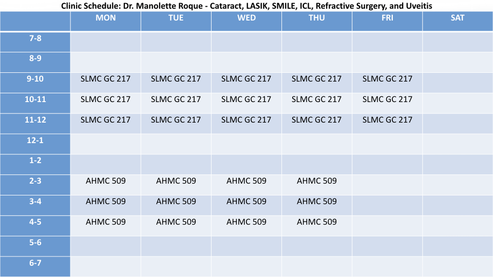 CLINIC SCHEDULE | MANOLETTE ROQUE | AS OF FEBRUARY 2017
