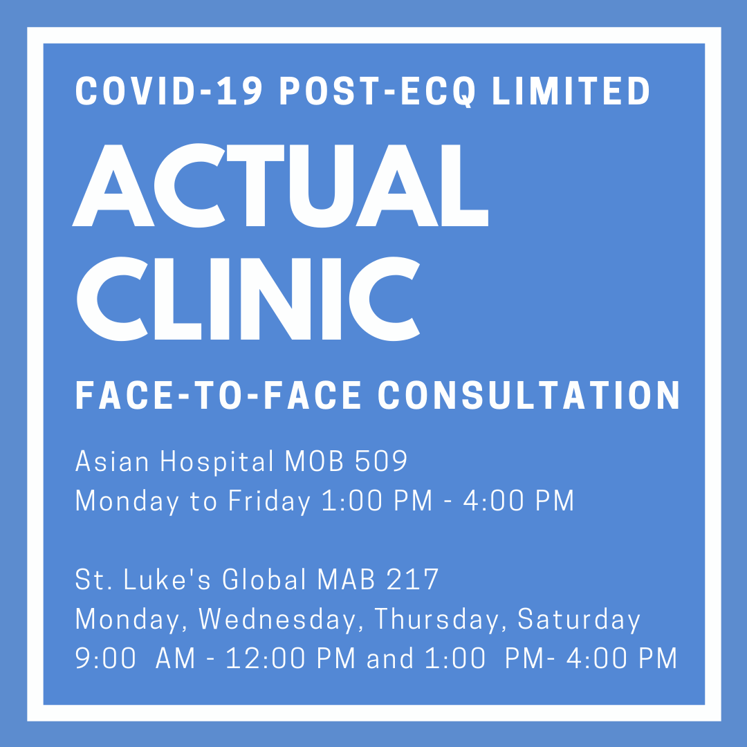 ACTUAL CLINIC Face-to-Face Consultation (GCQ in NCR)
