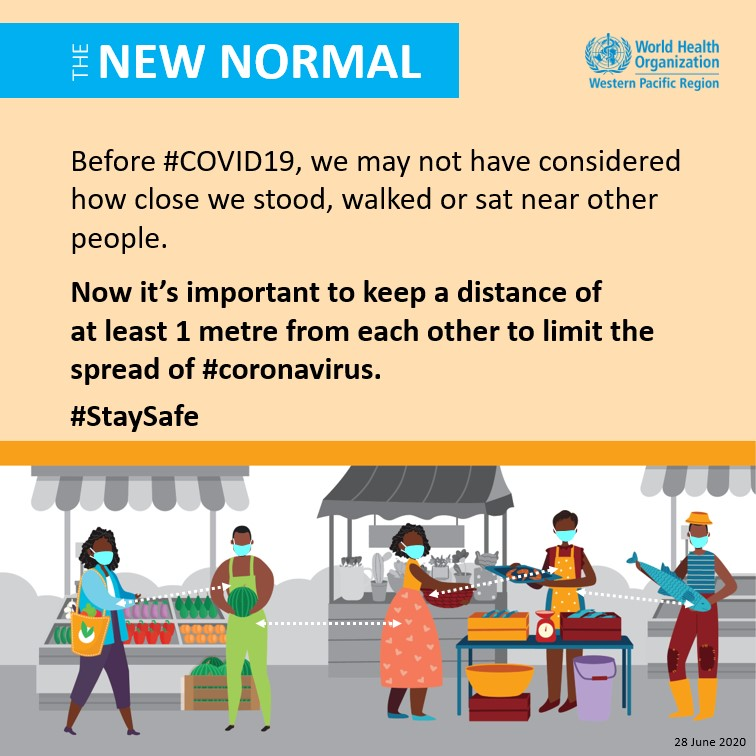 Now it's important to keep a distance of at least 1 meter from each other to limit the spread of #coronavirus. - WHO Western Pacific Region
