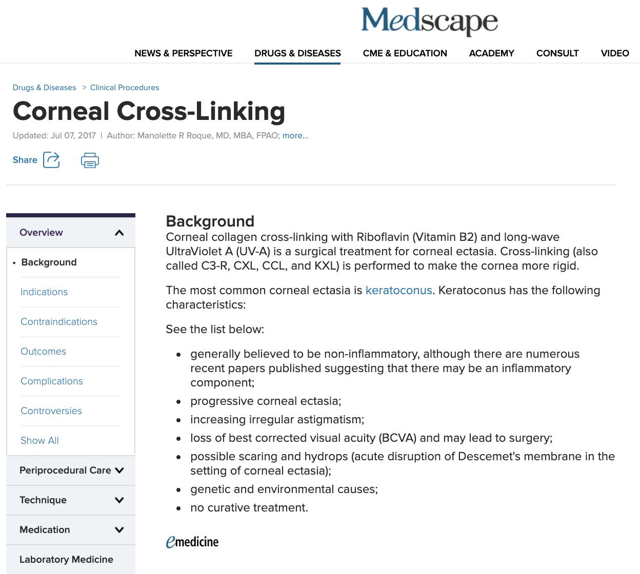 Medscape Corneal Cross-Linking