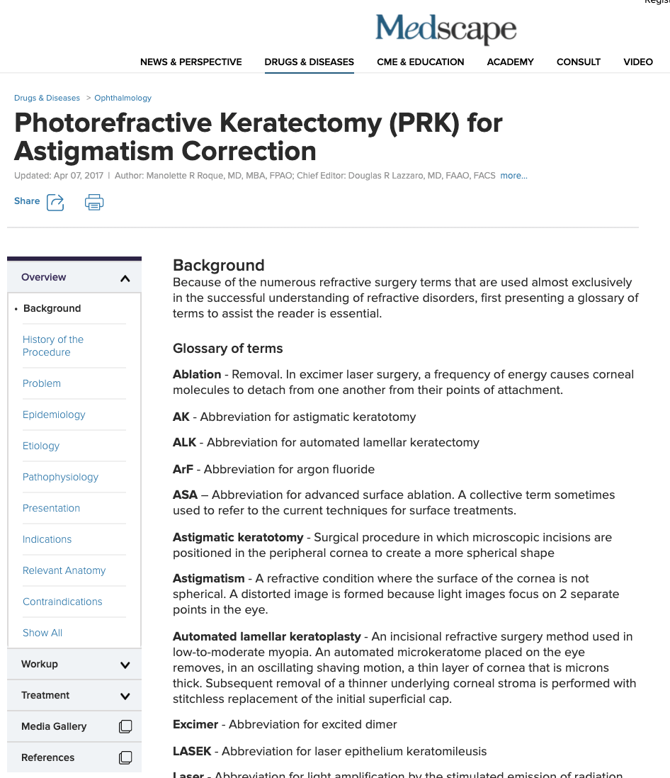 Medscape Photorefractive Keratectomy (PRK) for Astigmatism Correction
