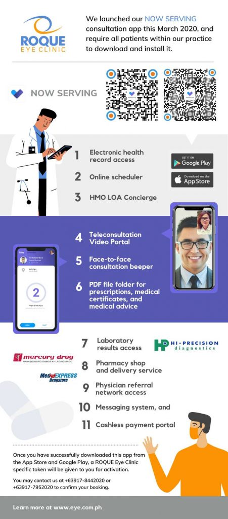 Benefits of downloading the ROQUE Eye Clinic Now Serving App